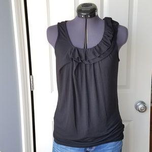 Allen B black ruffle sleeveless blouse tank top